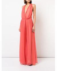 Oscar de la Renta Pink Long Flared Dress