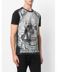 Philipp Plein Black Skull Print T-shirt for men