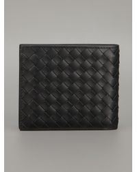 Bottega Veneta Black Woven Leather Billfold Wallet for men