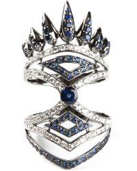 Nikos Koulis Metallic Diamond And Sapphire Pavé Ring