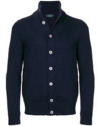 Zanone Blue Button-down Sweater for men
