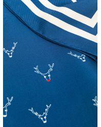 Holland & Holland Blue Reindeer-print Silk Scarf