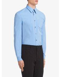 メンズ Prada コントラストステッチ シャツ Blue