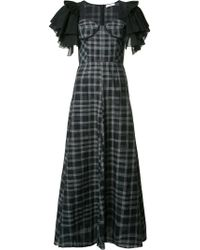 TOME - Black Long Ruffle Sleeve Dress - Lyst