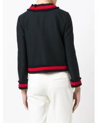 Gucci Black Cropped Web Trim Jacket