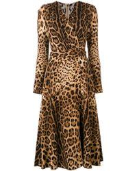 Abito svasato con motivo leopardato di Dolce & Gabbana in Multicolor