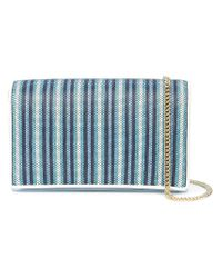 Diane von Furstenberg Blue Striped Shoulder Bag
