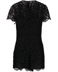 Combishort en dentelle à manches courtes Valentino en coloris Black