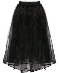Elisabetta Franchi グリッター チュールスカート Black
