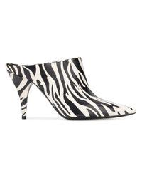 Casadei Black Mules mit Zebra-Print