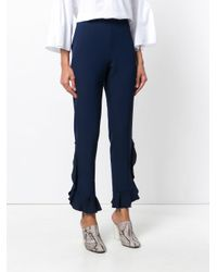 Blumarine - Blue Ruffled Trim Trousers - Lyst