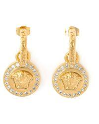 Versace Metallic Medusa Drop Earrings