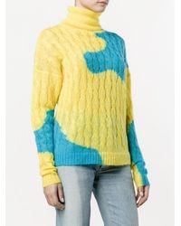 Delpozo バイカラー ケーブルニットセーター Yellow