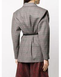 Erika Cavallini Semi Couture チェック ベルテッドジャケット Gray