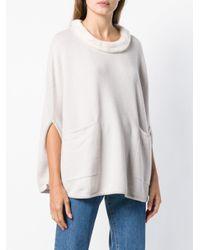 N.Peal Cashmere White Fur Trim Poncho
