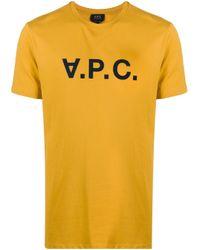 メンズ A.P.C. ロゴ Tシャツ Yellow