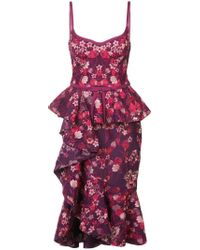 Marchesa notte Purple Ruffle Floral Midi Dress