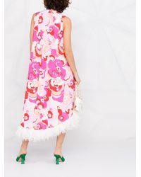 LaDoubleJ フローラル ノースリーブドレス Pink
