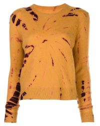 The Elder Statesman Orange Tie Dye Print Jumper