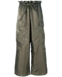 MM6 by Maison Martin Margiela Green Wide Leg Cargo Trousers