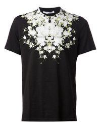 Givenchy Black Floral Print T-Shirt for men