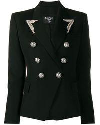 Blazer ajustado con doble botonadura Balmain de color Black