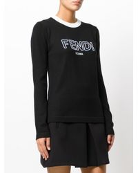 Fendi Black Logo Crew Neck Pullover