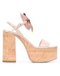 Miu Miu Pink Floral Embellished Platform Sandals