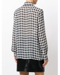 Boutique Moschino - Black Frilled Gingham Blouse - Lyst