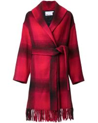 T By Alexander Wang Red Checked Coat