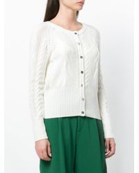N.Peal Cashmere White Cropped Cable Cashmere Cardigan