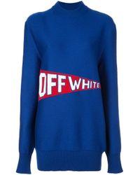 Off-White c/o Virgil Abloh Blue Pullover mit Logo