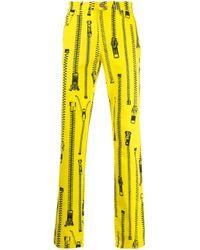 メンズ Moschino ジッププリント ストレートパンツ Yellow