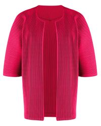 Homme Plissé Issey Miyake Pink Open Front Pleated Cardigan for men