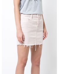 Mother Pink Frayed Denim Mini Skirt