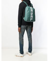 DIESEL Gray Backpack With Bold Logo for men
