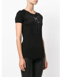 Jo No Fui Black Embellished Butterfly T-shirt