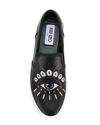 KENZO Black Eye Slip-on Sneakers