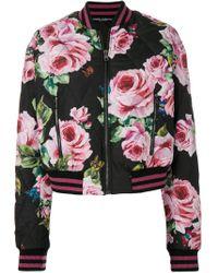 Bomber con rose stampate di Dolce & Gabbana in Black
