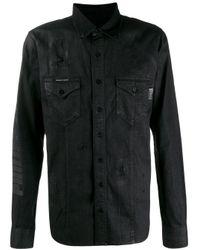 Philipp Plein Black Distressed Denim Shirt for men