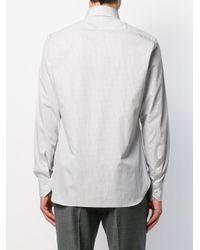 Клетчатая Рубашка С Длинными Рукавами Ermenegildo Zegna для него, цвет: Gray