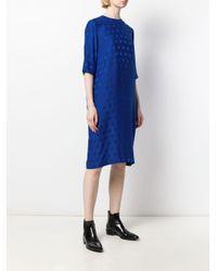 Vestido en jacquard con motivo de lunares Haider Ackermann de color Blue