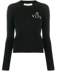 Жаккардовый Джемпер С Логотипом Vlogo Valentino, цвет: Black