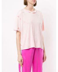 Amiri ダメージ Tシャツ Pink