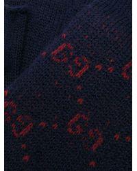 メンズ Gucci GG パターン フィンガーレス手袋 Blue
