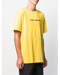 メンズ Tommy Hilfiger ロゴ Tシャツ Yellow