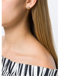 Tory Burch White Swarovski Crystal Pearl Logo Earrings