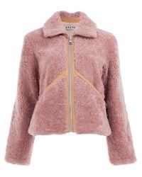 AALTO Pink Shearling Zip-up Jacket