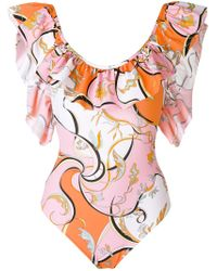 Emilio Pucci - Multicolor Ruffled Printed Swimsuit - Lyst