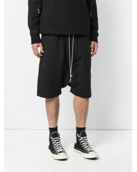 Rick Owens Drkshdw Black Drop-crotch Shorts for men